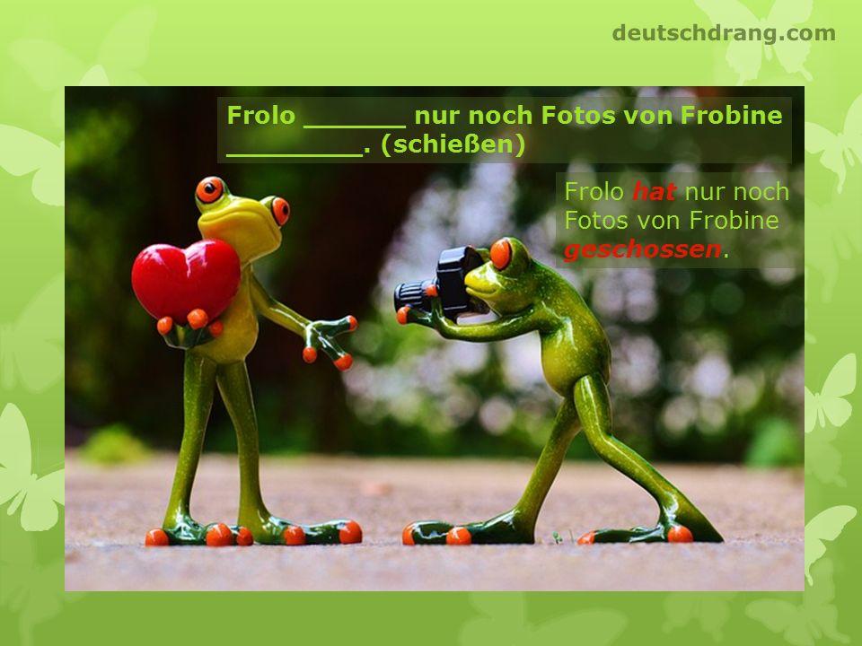 Frolo ______ nur noch Fotos von Frobine ________. (schießen) Frolo hat nur noch Fotos von Frobine geschossen. deutschdrang.com