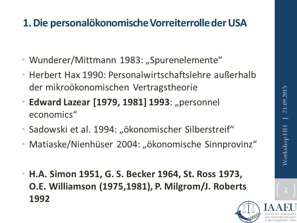 """1. Die personalökonomische Vorreiterrolle der USA Wunderer/Mittmann 1983: """"Spurenelemente"""" Herbert Hax 1990: Personalwirtschaftslehre außerhalb der mi"""
