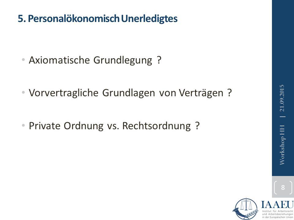 5. Personalökonomisch Unerledigtes Axiomatische Grundlegung .