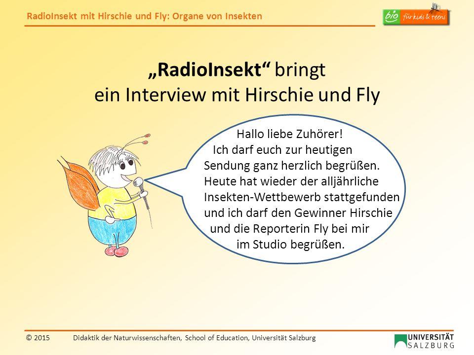 RadioInsekt mit Hirschie und Fly: Organe von Insekten © 2015Didaktik der Naturwissenschaften, School of Education, Universität Salzburg Auch ein Hallo von mir.