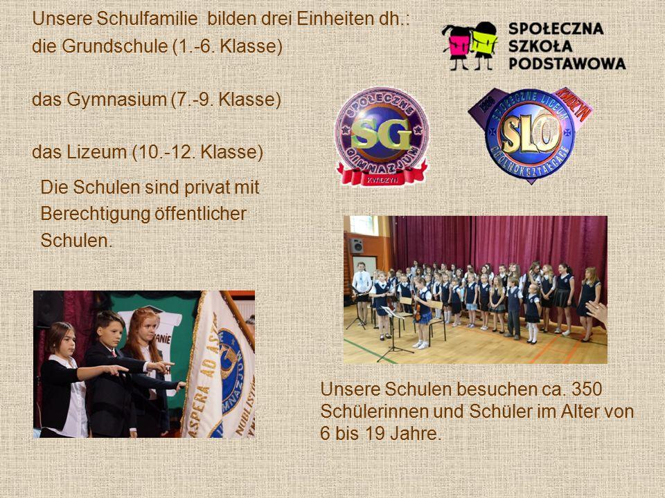 Unsere Schulfamilie bilden drei Einheiten dh.: die Grundschule (1.-6.