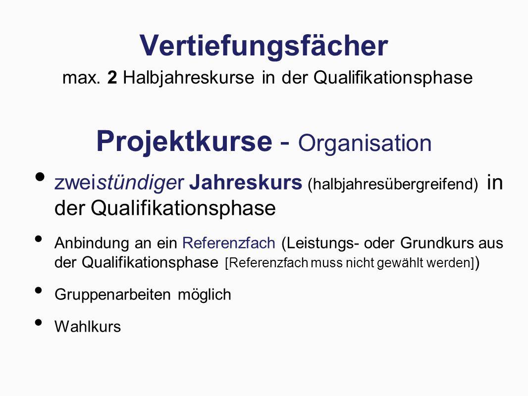 Projektkurse - Organisation zweistündiger Jahreskurs (halbjahresübergreifend) in der Qualifikationsphase Anbindung an ein Referenzfach (Leistungs- oder Grundkurs aus der Qualifikationsphase [Referenzfach muss nicht gewählt werden] ) Gruppenarbeiten möglich Wahlkurs Vertiefungsfächer max.