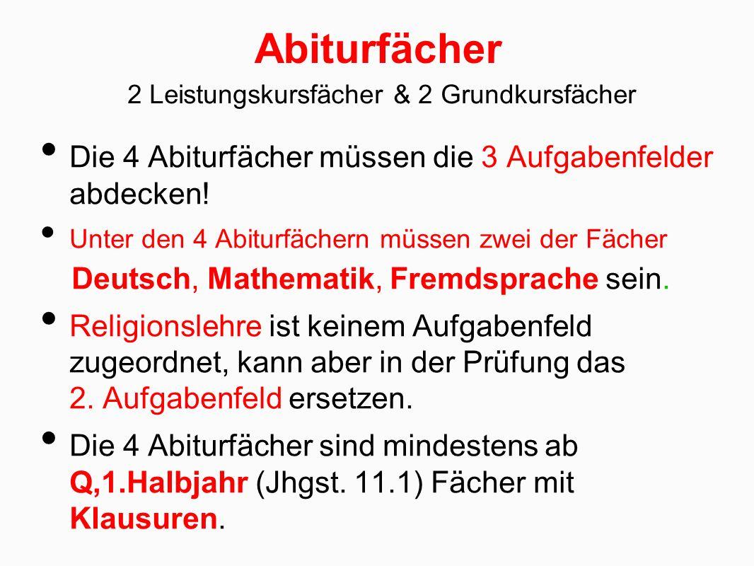 Abiturfächer Die 4 Abiturfächer müssen die 3 Aufgabenfelder abdecken.