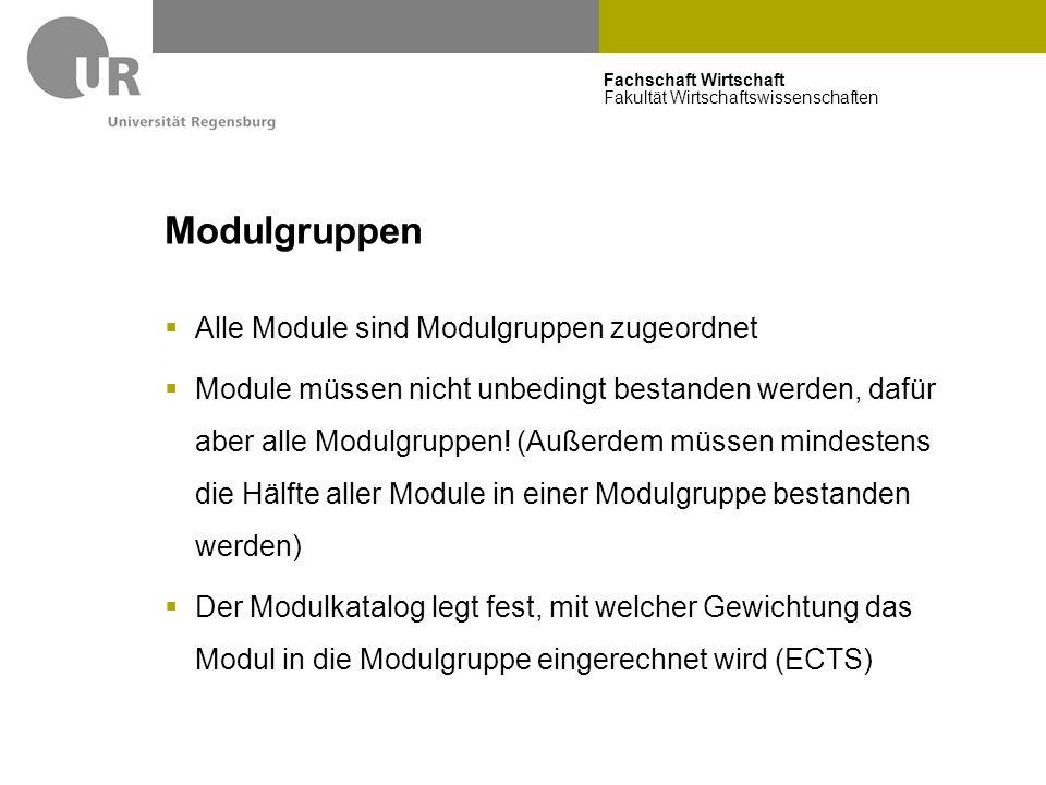 Fachschaft Wirtschaft Fakultät Wirtschaftswissenschaften Modulgruppen  Alle Module sind Modulgruppen zugeordnet  Module müssen nicht unbedingt besta