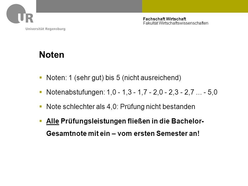 Fachschaft Wirtschaft Fakultät Wirtschaftswissenschaften Noten  Noten: 1 (sehr gut) bis 5 (nicht ausreichend)  Notenabstufungen: 1,0 - 1,3 - 1,7 - 2