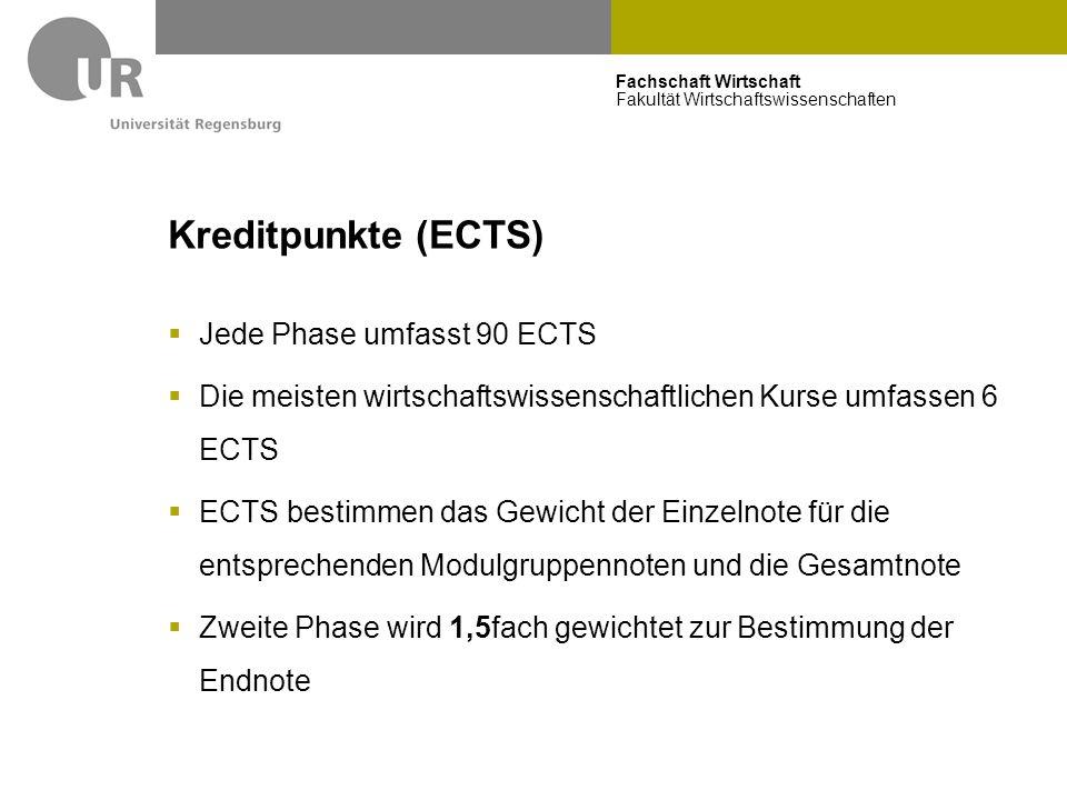 Fachschaft Wirtschaft Fakultät Wirtschaftswissenschaften Kreditpunkte (ECTS)  Jede Phase umfasst 90 ECTS  Die meisten wirtschaftswissenschaftlichen