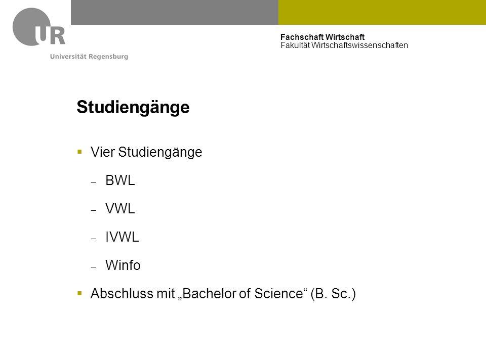 """Fachschaft Wirtschaft Fakultät Wirtschaftswissenschaften Studiengänge  Vier Studiengänge  BWL  VWL  IVWL  Winfo  Abschluss mit """"Bachelor of Scie"""