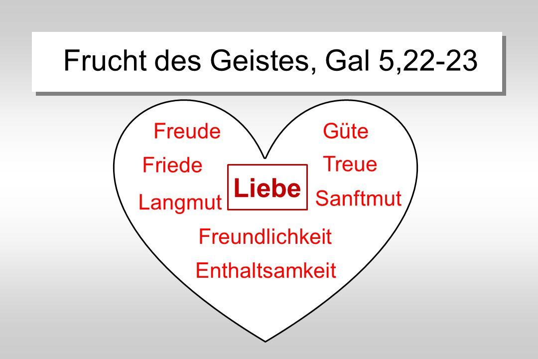Frucht des Geistes, Gal 5,22-23 Liebe Friede Treue Freude Langmut Freundlichkeit Güte Enthaltsamkeit Sanftmut