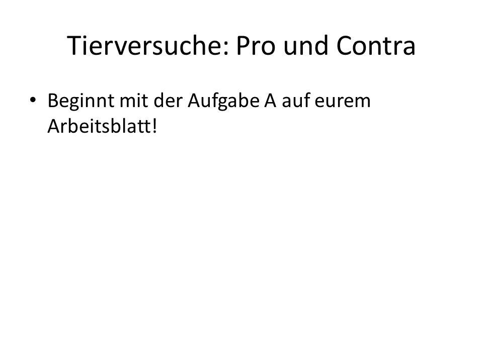 Tierversuche: Pro und Contra Beginnt mit der Aufgabe A auf eurem Arbeitsblatt!