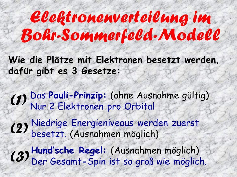 Elektronenverteilung im Bohr-Sommerfeld-Modell Wie die Plätze mit Elektronen besetzt werden, dafür gibt es 3 Gesetze: Das Pauli-Prinzip: (ohne Ausnahme gültig) Nur 2 Elektronen pro Orbital Niedrige Energieniveaus werden zuerst besetzt.