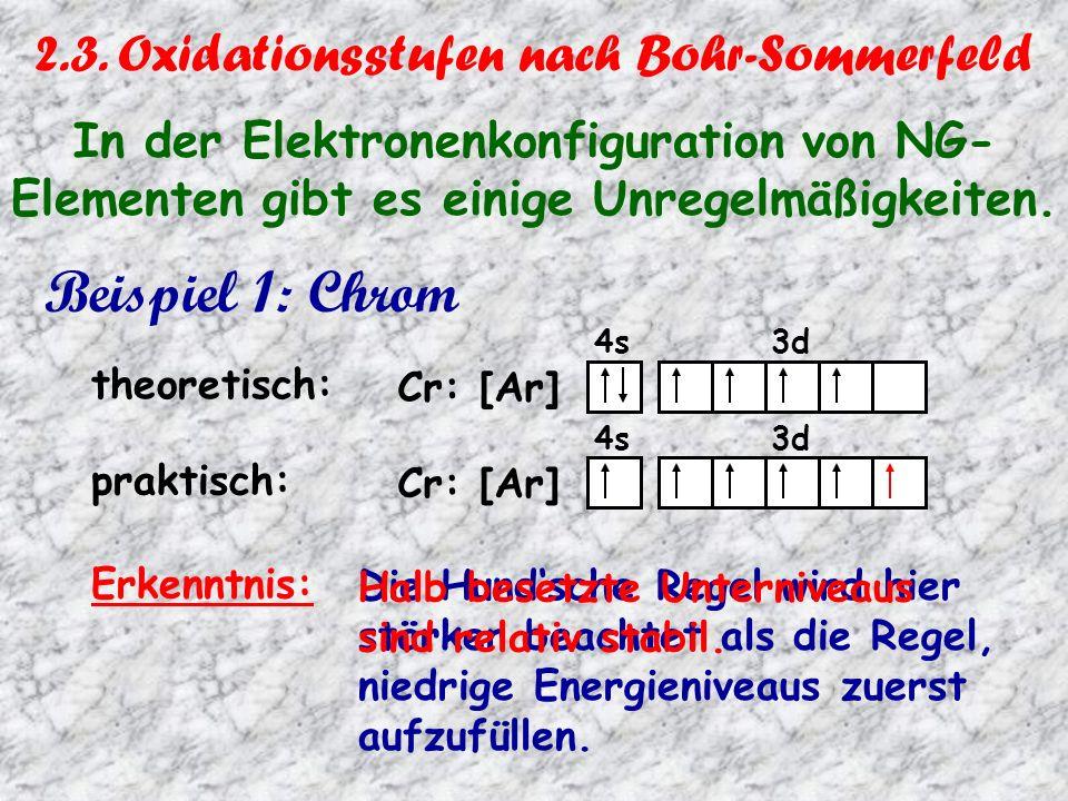 Beispiel 2: Kupfer theoretisch: 4s 3d Cu: [Ar] praktisch: 4s 3d Cu: [Ar] Erkenntnis: Das volle Besetzten des großen Unterniveaus 3d ist den Elektronen offenbar wichtiger als die Regel, niedrige Energie- niveaus zuerst aufzufüllen.
