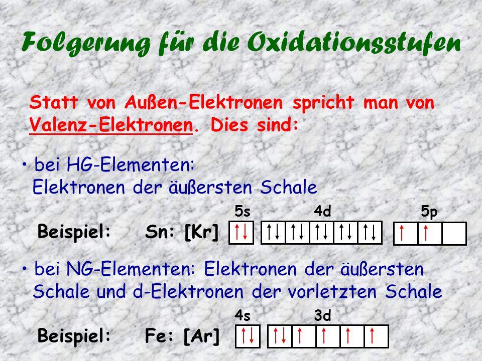 Folgerung für die Oxidationsstufen Statt von Außen-Elektronen spricht man von Valenz-Elektronen.