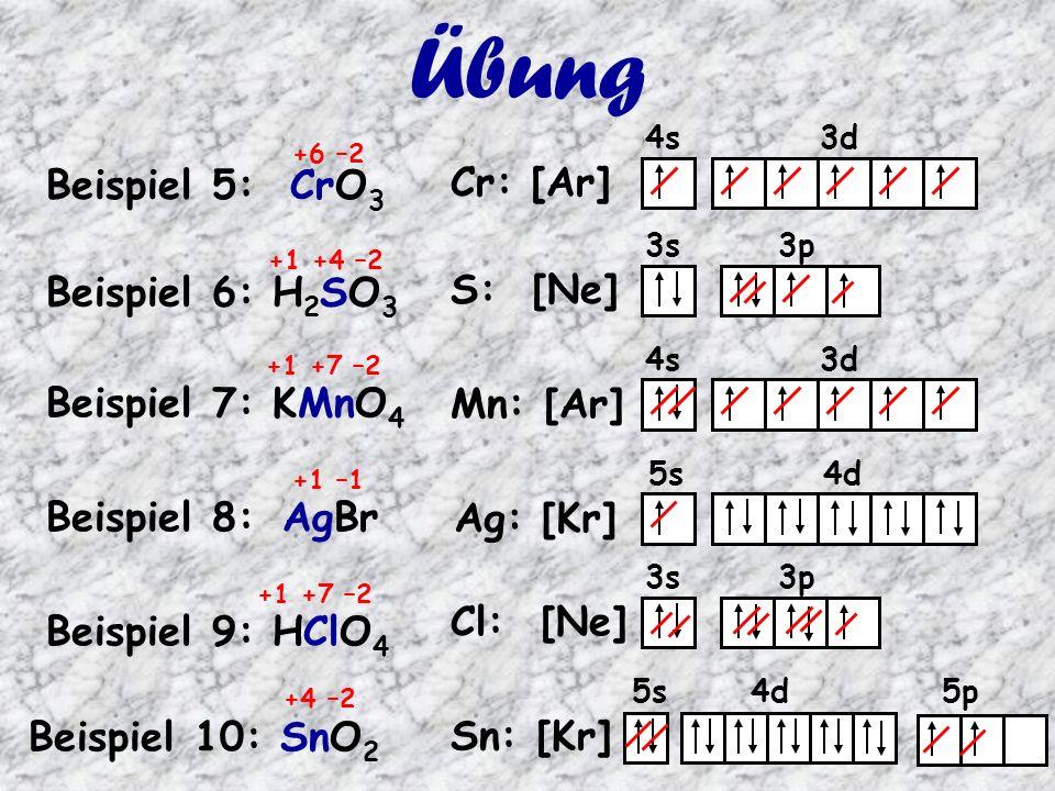 4s 3d Mn: [Ar] 3s 3p Cl: [Ne] 4s 3d Cr: [Ar] Beispiel 5: CrO 3 3s 3p S: [Ne] Beispiel 6: H 2 SO 3 Beispiel 7: KMnO 4 Beispiel 8: AgBr 5s 4d Ag: [Kr] Übung Beispiel 9: HClO 4 Beispiel 10: SnO 2 +6 –2 +1 +4 –2 +1 +7 –2 +1 –1 +1 +7 –2 +4 –2 5s 4d 5p Sn: [Kr]