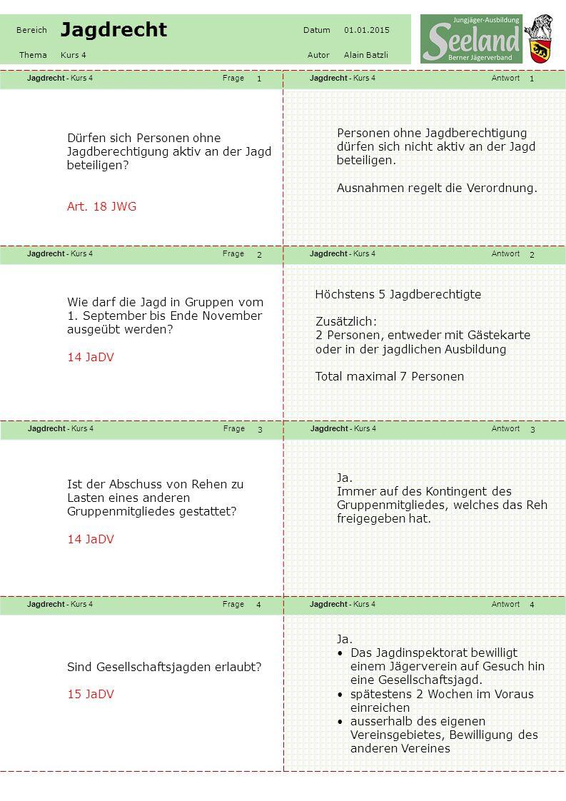 Jagdrecht - Kurs 4FrageJagdrecht - Kurs 4Antwort Jagdrecht - Kurs 4FrageJagdrecht - Kurs 4Antwort Jagdrecht - Kurs 4FrageJagdrecht - Kurs 4Antwort Jagdrecht - Kurs 4FrageJagdrecht - Kurs 4Antwort Bereich Jagdrecht Datum01.01.2015 ThemaKurs 4AutorAlain Batzli 55 66 77 88 Welche Jagdhunderassen sind nach Definition des Int.