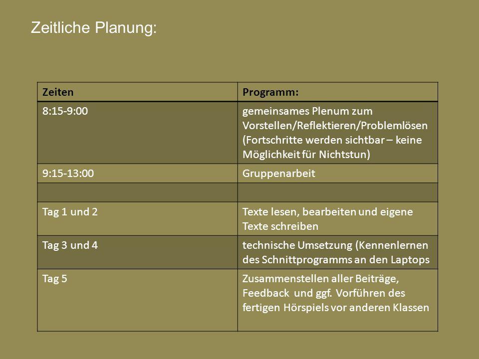 Zeitliche Planung: ZeitenProgramm: 8:15-9:00gemeinsames Plenum zum Vorstellen/Reflektieren/Problemlösen (Fortschritte werden sichtbar – keine Möglichk