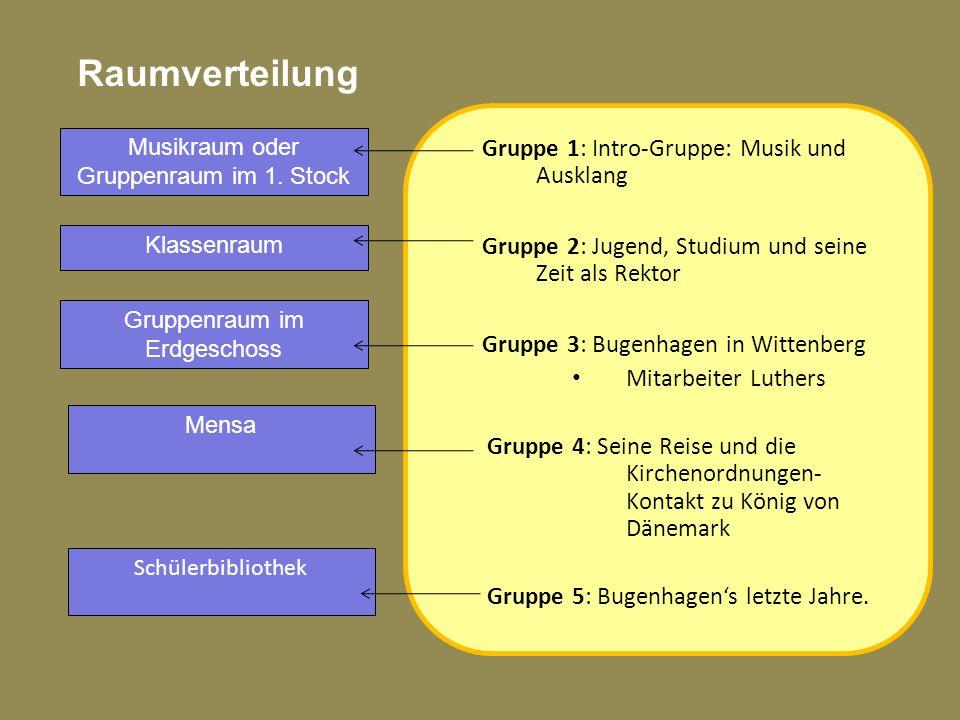 Raumverteilung Gruppe 1: Intro-Gruppe: Musik und Ausklang Gruppe 2: Jugend, Studium und seine Zeit als Rektor Gruppe 3: Bugenhagen in Wittenberg Mitar