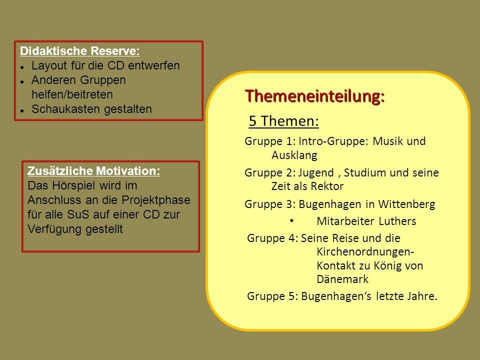 Themeneinteilung: 5 Themen: Gruppe 1: Intro-Gruppe: Musik und Ausklang Gruppe 2: Jugend, Studium und seine Zeit als Rektor Gruppe 3: Bugenhagen in Wit