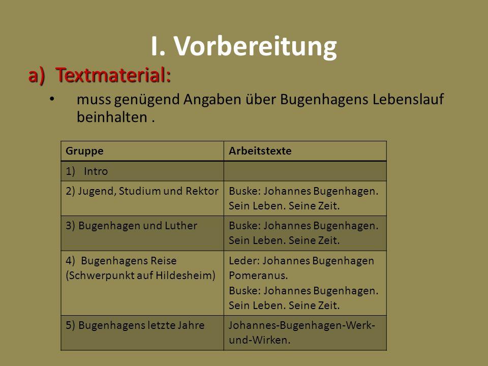 I. Vorbereitung a)Textmaterial: muss genügend Angaben über Bugenhagens Lebenslauf beinhalten. GruppeArbeitstexte 1)Intro 2) Jugend, Studium und Rektor