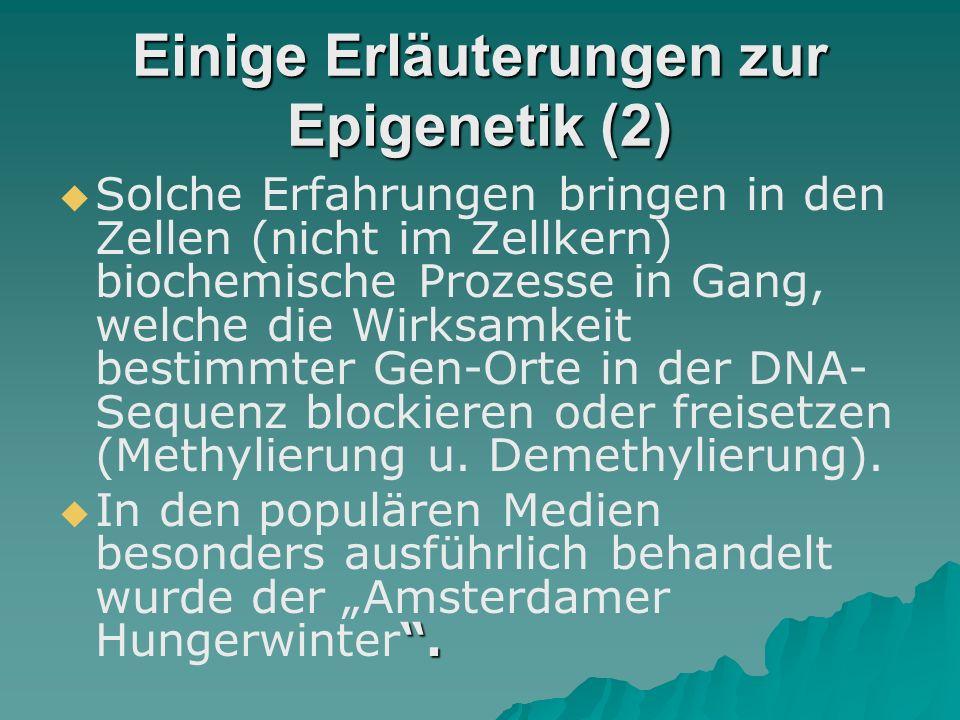 Einige Erläuterungen zur Epigenetik   Epigenetik trägt zum Verständnis der Wechselwirkungen zwischen Anlage und Umwelt bei.
