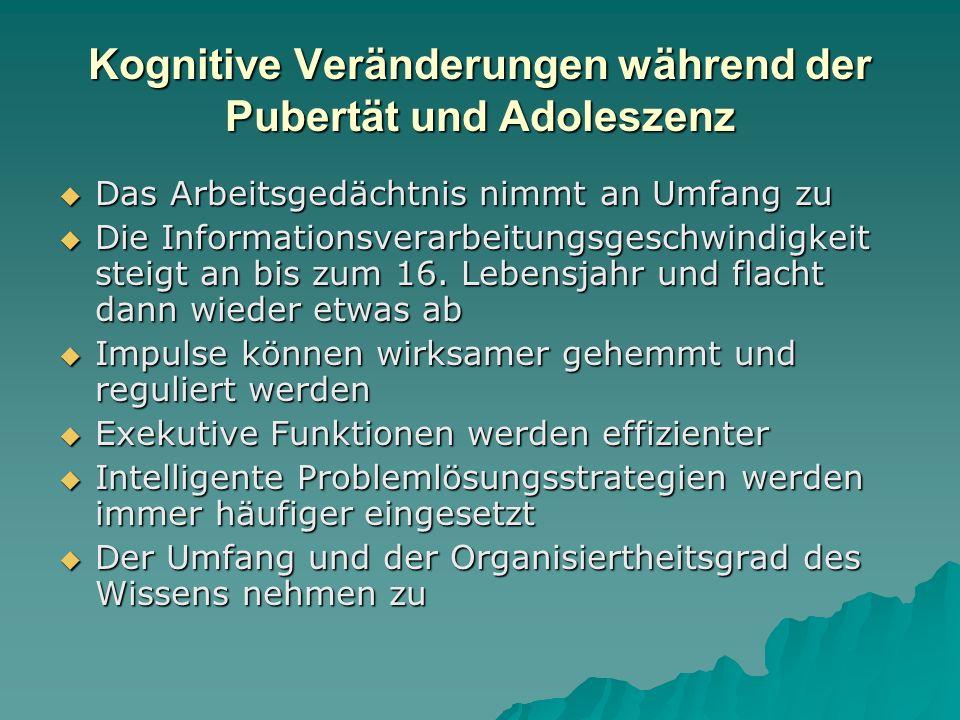 Kognitive Veränderungen während der Pubertät und Adoleszenz – Jugendliche lernen  deduktiv zu denken (ohne sich auf konkrete Kontexte beziehen zu müssen) und logische Schlussfolgerungen aus Prämissen zu ziehen.