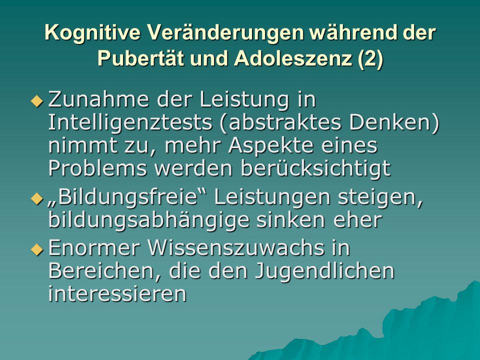 Kognitive Veränderungen während der Pubertät und Adoleszenz  Das Arbeitsgedächtnis nimmt an Umfang zu  Die Informationsverarbeitungsgeschwindigkeit steigt an bis zum 16.