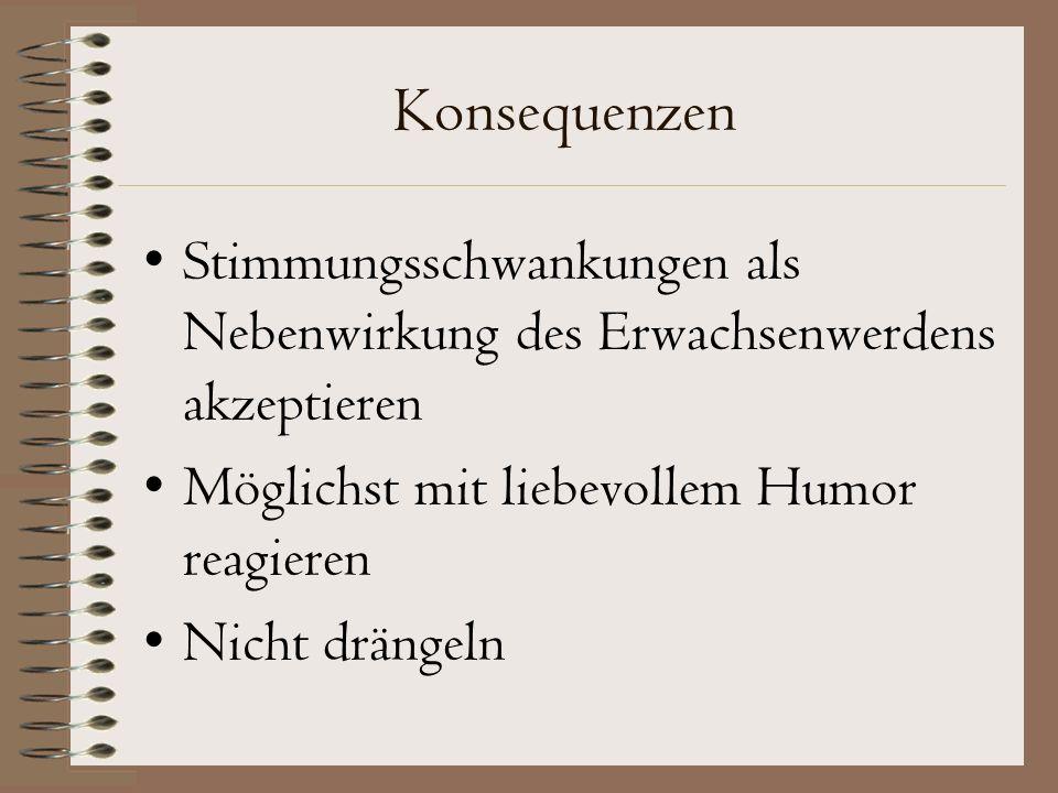 Konsequenzen Stimmungsschwankungen als Nebenwirkung des Erwachsenwerdens akzeptieren Möglichst mit liebevollem Humor reagieren Nicht drängeln