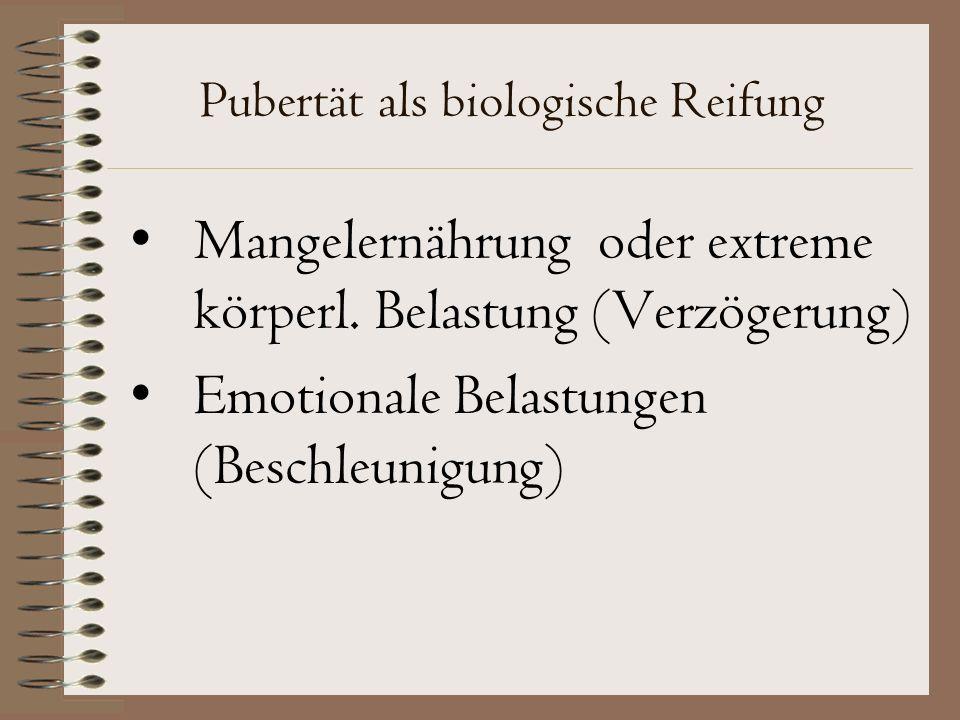 Pubertät als biologische Reifung Mangelernährung oder extreme körperl.