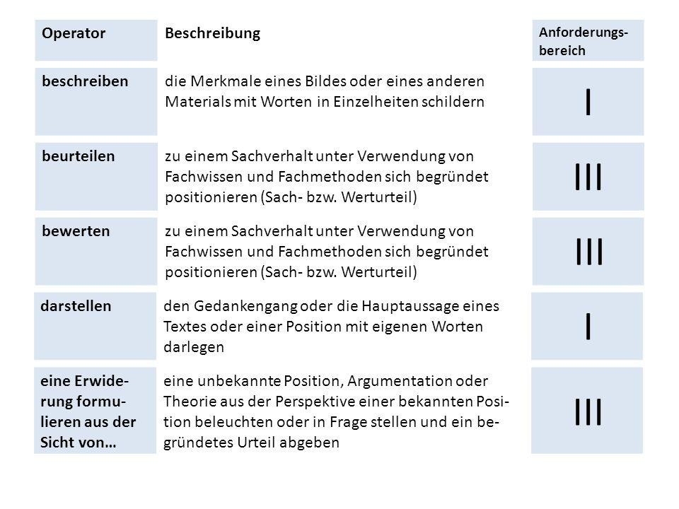 OperatorBeschreibung Anforderungs- bereich beschreibendie Merkmale eines Bildes oder eines anderen Materials mit Worten in Einzelheiten schildern I be