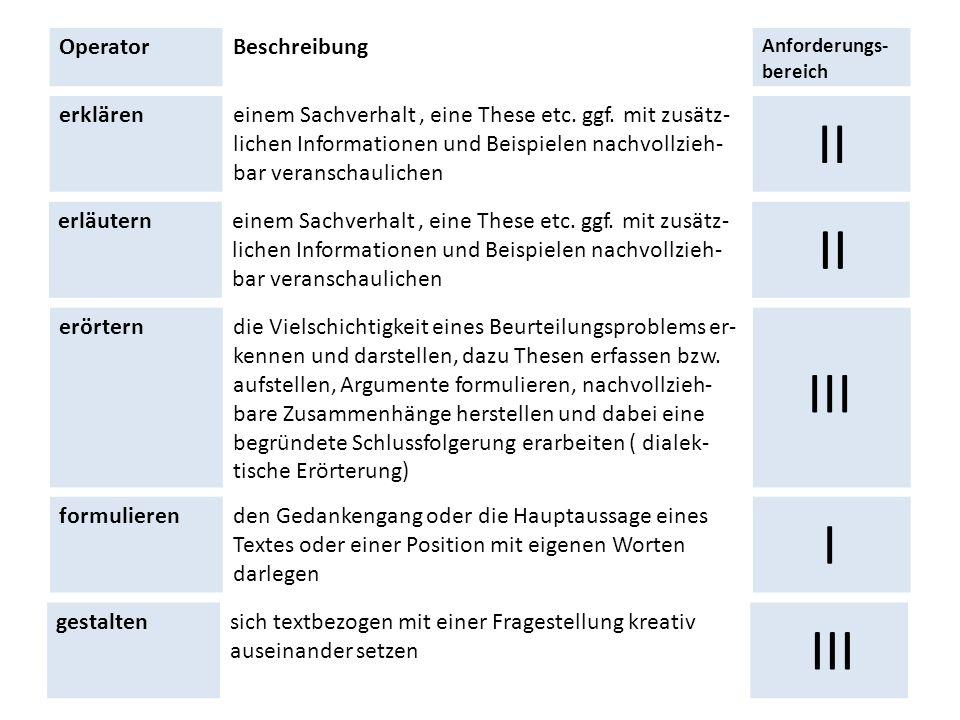 OperatorBeschreibung Anforderungs- bereich erkläreneinem Sachverhalt, eine These etc. ggf. mit zusätz- lichen Informationen und Beispielen nachvollzie