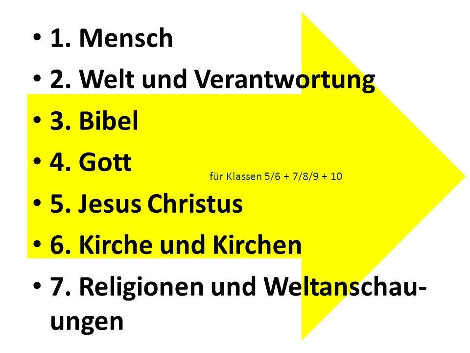 für Klassen 5/6 + 7/8/9 + 10 1. Mensch 2. Welt und Verantwortung 3. Bibel 4. Gott 5. Jesus Christus 6. Kirche und Kirchen 7. Religionen und Weltanscha