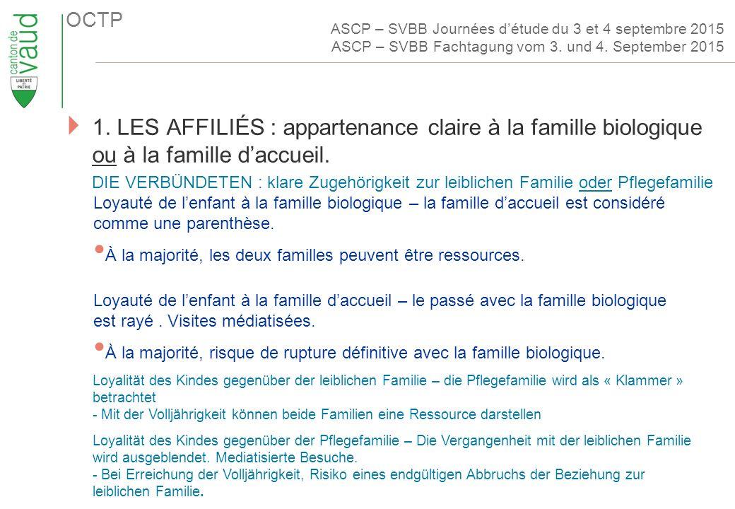 OCTP  1. LES AFFILIÉS : appartenance claire à la famille biologique ou à la famille d'accueil.