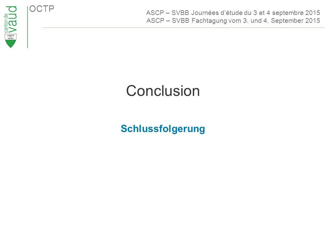 OCTP Conclusion Schlussfolgerung ASCP – SVBB Journées d'étude du 3 et 4 septembre 2015 ASCP – SVBB Fachtagung vom 3.