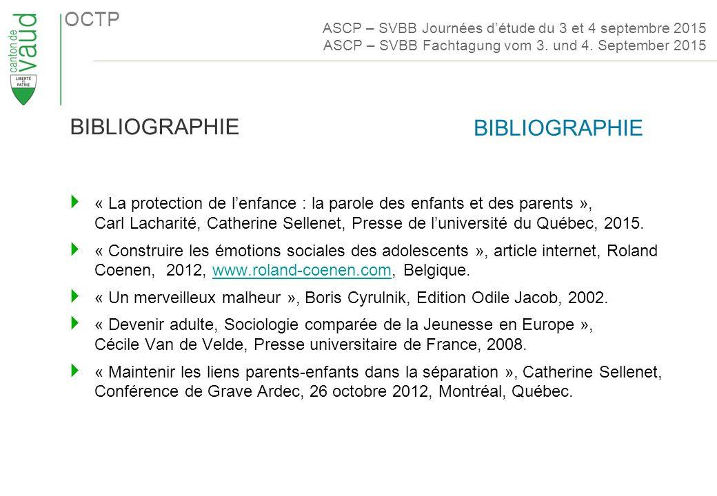 OCTP  « La protection de l'enfance : la parole des enfants et des parents », Carl Lacharité, Catherine Sellenet, Presse de l'université du Québec, 2015.