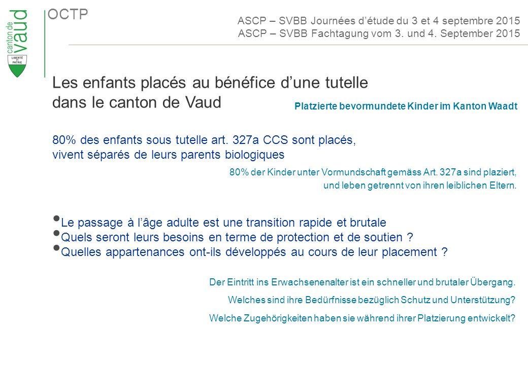 OCTP Les enfants placés au bénéfice d'une tutelle dans le canton de Vaud 80% des enfants sous tutelle art.