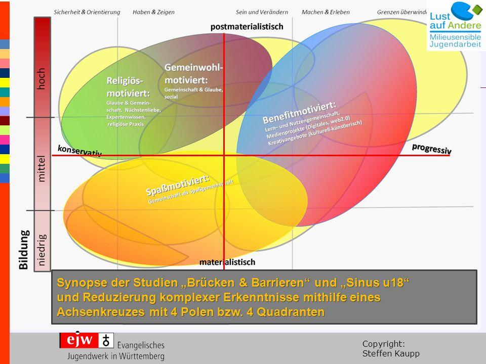 """Copyright: Steffen Kaupp Synopse der Studien """"Brücken & Barrieren und """"Sinus u18 und Reduzierung komplexer Erkenntnisse mithilfe eines Achsenkreuzes mit 4 Polen bzw."""
