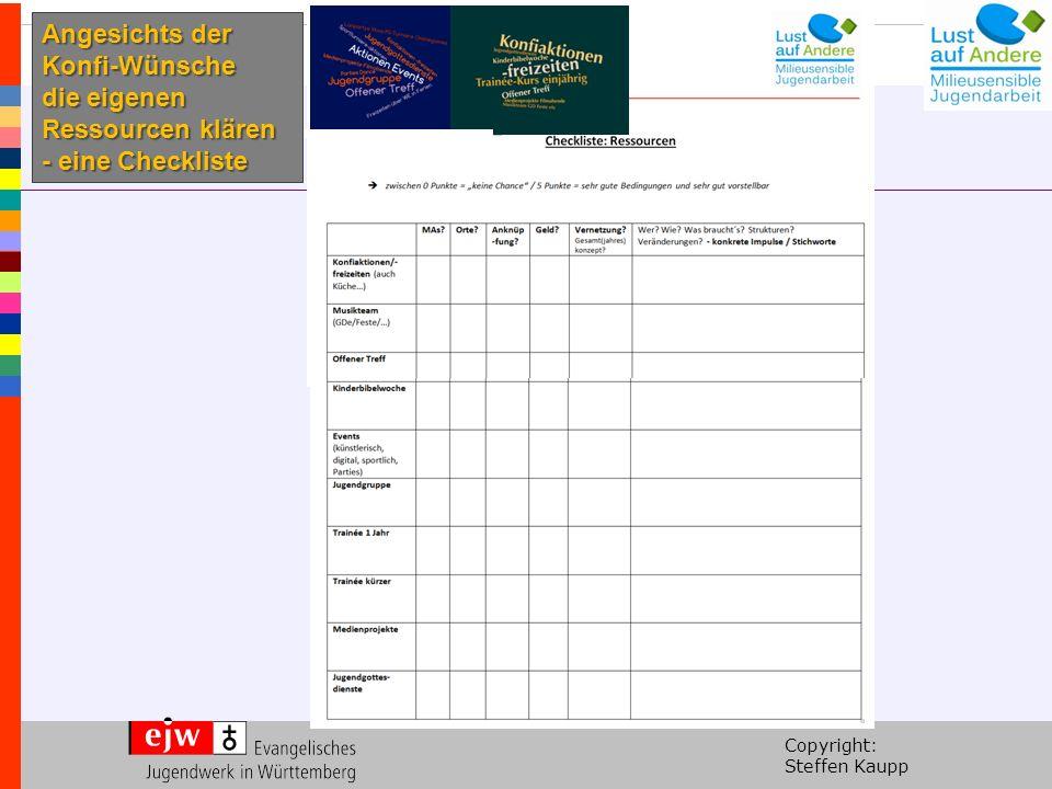 Copyright: Steffen Kaupp Angesichts der Konfi-Wünsche die eigenen Ressourcen klären - eine Checkliste