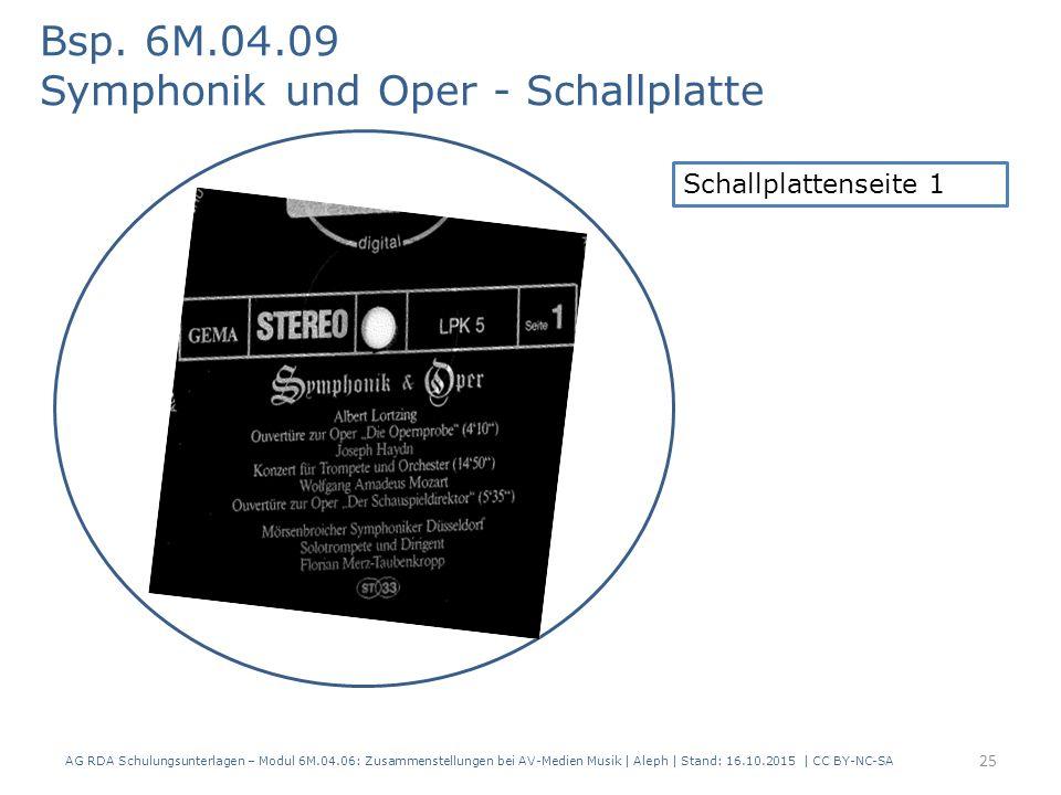 AG RDA Schulungsunterlagen – Modul 6M.04.06: Zusammenstellungen bei AV-Medien Musik   Aleph   Stand: 16.10.2015   CC BY-NC-SA Bsp. 6M.04.09 Symphonik