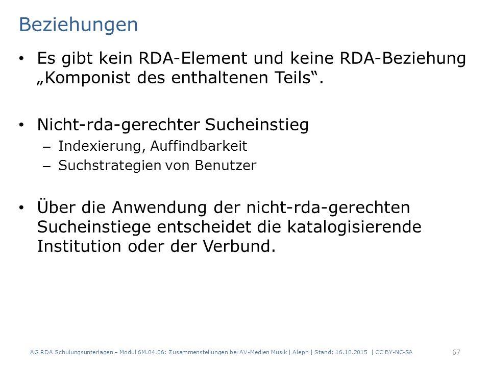 """Beziehungen Es gibt kein RDA-Element und keine RDA-Beziehung """"Komponist des enthaltenen Teils"""". Nicht-rda-gerechter Sucheinstieg – Indexierung, Auffin"""