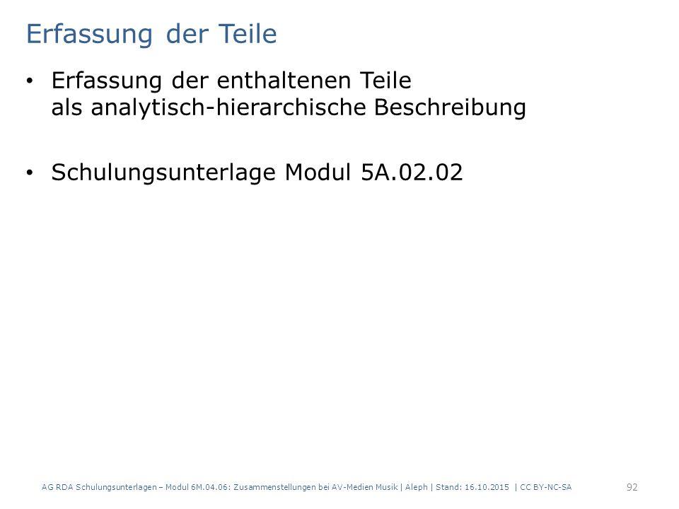 Erfassung der Teile Erfassung der enthaltenen Teile als analytisch-hierarchische Beschreibung Schulungsunterlage Modul 5A.02.02 AG RDA Schulungsunterl