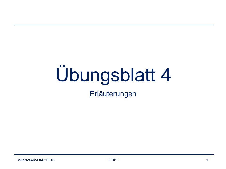Aufgabe 1 Relationales Datenbankmodell Wintersemester 15/16DBIS2