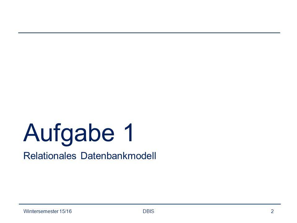 Überführung Schritt 1 - Entitytypen und deren Attribute übernehmen Wintersemester 15/16DBIS3 Kunde(KundenNr, Name, Adresse) Pkw(FahrzeugNr, Farbe, Baujahr) Hersteller(Name, Hauptsitz) Werkstatt(Name, FaxNr*, Telefon)