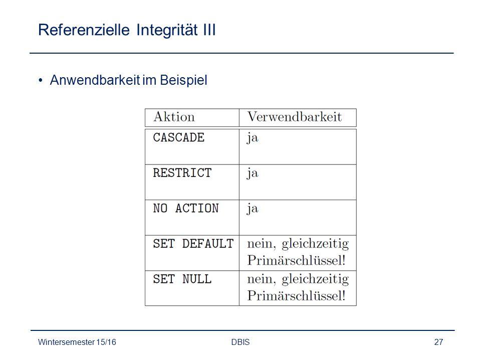 Referenzielle Integrität III Anwendbarkeit im Beispiel Wintersemester 15/16DBIS27