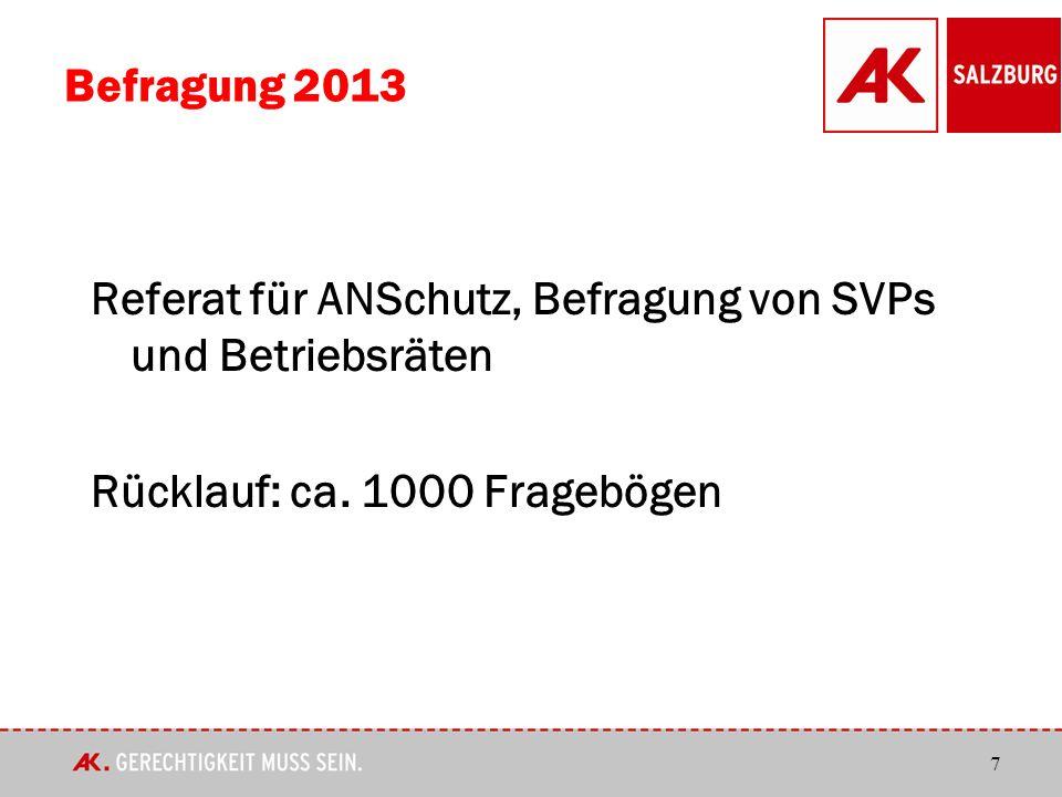 7 Befragung 2013 Referat für ANSchutz, Befragung von SVPs und Betriebsräten Rücklauf: ca.