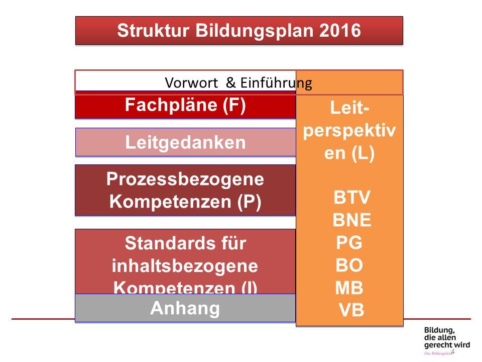 Struktur Bildungsplan 2016 Leit- perspektiv en (L) BTV BNE PG BO MB VB Leit- perspektiv en (L) BTV BNE PG BO MB VB Fachpläne (F) Leitgedanken Prozessb