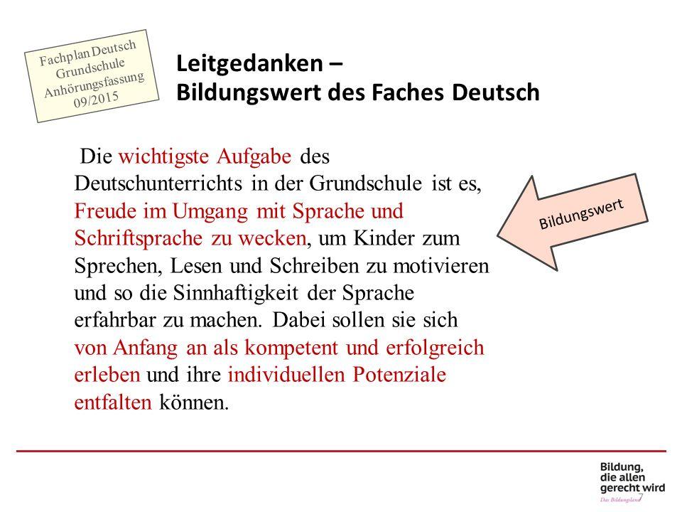 7 Leitgedanken – Bildungswert des Faches Deutsch Bildungswert Fachplan Deutsch Grundschule Anhörungsfassung 09/2015 Die wichtigste Aufgabe des Deutsch