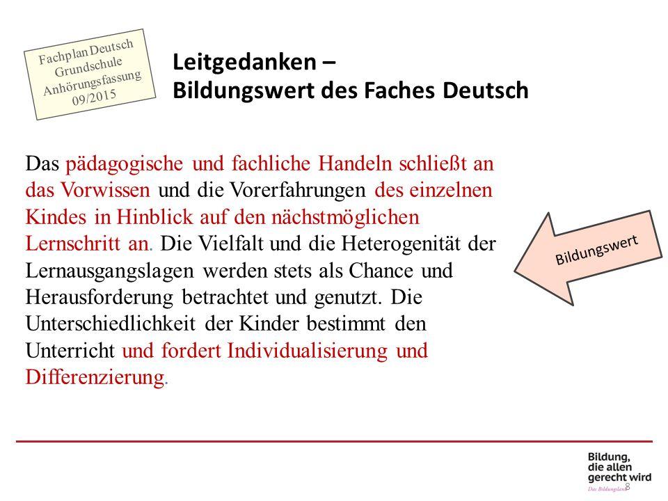 8 Bildungswert Fachplan Deutsch Grundschule Anhörungsfassung 09/2015 Leitgedanken – Bildungswert des Faches Deutsch Das pädagogische und fachliche Han