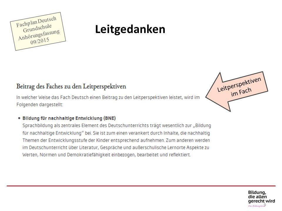 9 Leitgedanken Leitperspektiven im Fach Fachplan Deutsch Grundschule Anhörungsfassung 09/2015
