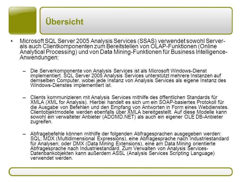 Übersicht Microsoft SQL Server 2005 Analysis Services (SSAS) verwendet sowohl Server- als auch Clientkomponenten zum Bereitstellen von OLAP-Funktionen (Online Analytical Processing) und von Data Mining-Funktionen für Business Intelligence- Anwendungen: –Die Serverkomponente von Analysis Services ist als Microsoft Windows-Dienst implementiert.