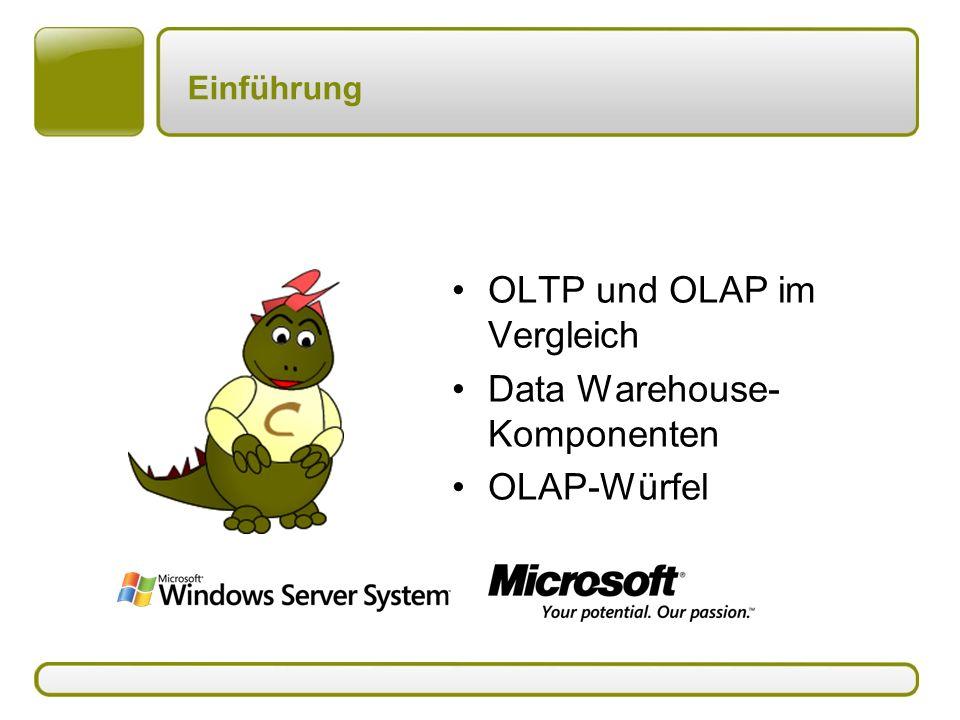 Einführung OLTP und OLAP im Vergleich Data Warehouse- Komponenten OLAP-Würfel