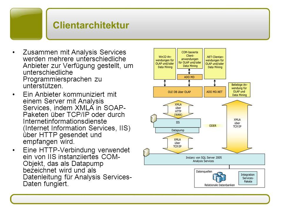 Clientarchitektur Zusammen mit Analysis Services werden mehrere unterschiedliche Anbieter zur Verfügung gestellt, um unterschiedliche Programmiersprac